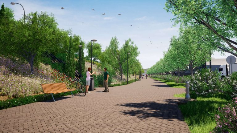 Imagen conceptual de la zona verde de la calle Trespaderne 18