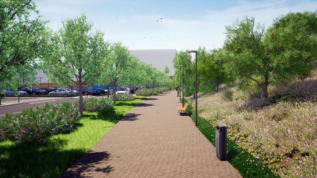 Zona verde en la calle Trespaderne según la propuesta de Presupuestos Participativos