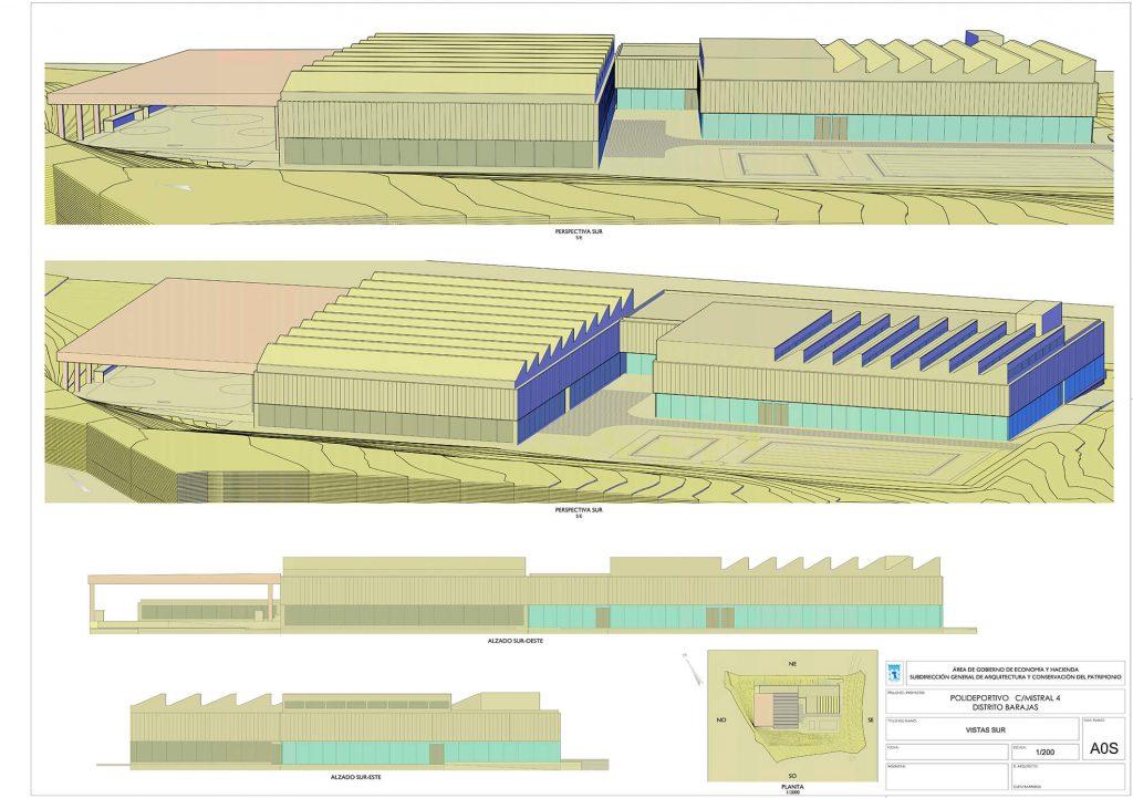 Plano del polideportivo de la calle Mistral