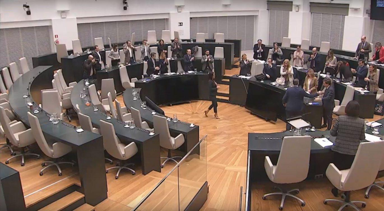 Imagen del salón de Plenos del Palacio de Cibeles durante la sesión de aprobación del Presupuesto 2020