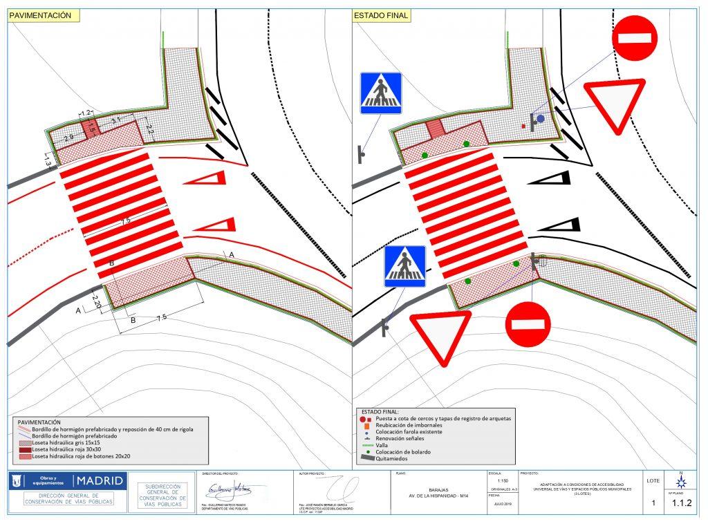 Plano de las obras previstas en el paso de peatones de la rotonda de la M-22