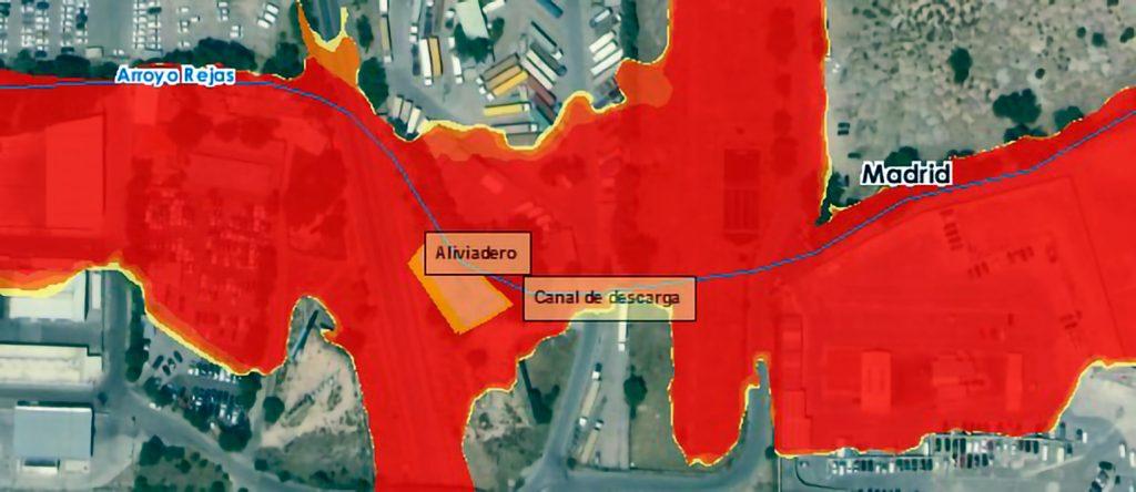 Zonas inundables del arroyo de Rejas y situación del aliviadero