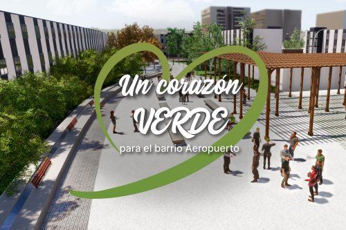 """Logotipo de la campaña """"Un corazón verde para el barrio del Aeropuerto"""""""